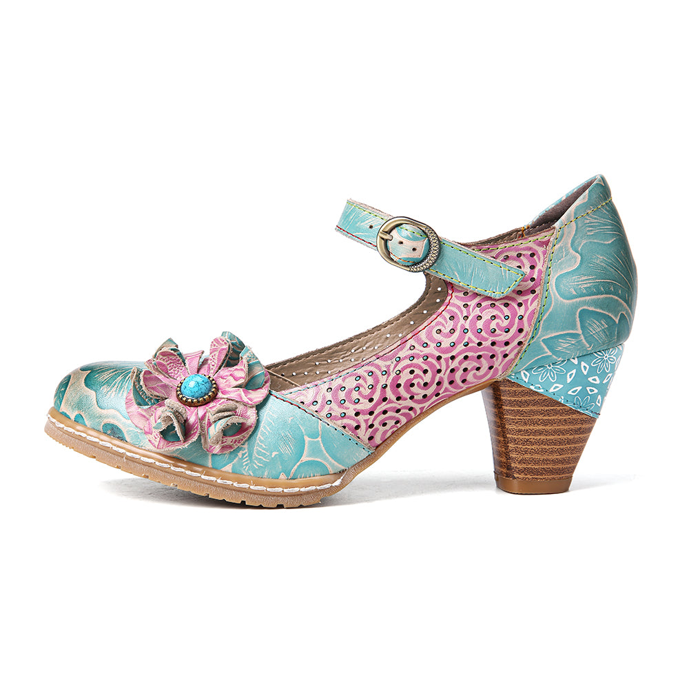 Floral Leather Perforated Mary Jane Shoes Ankle Strap Buckle Chunky Pumps