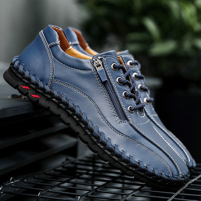Menico Large Size Men Hand Stitching Side Zipper Casual Leather Shoes