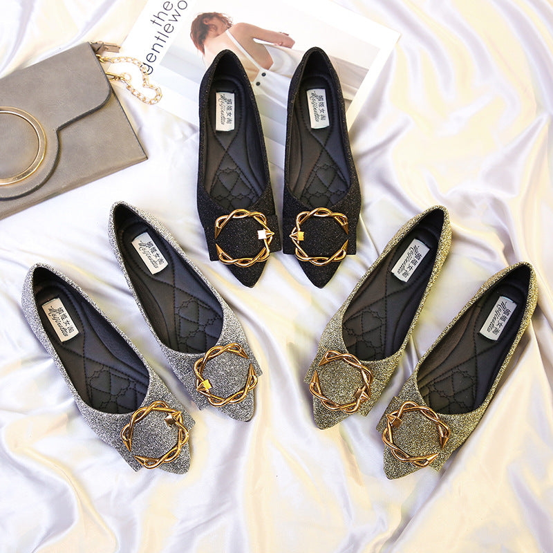 Women Rhinestone Pointed Toe Suede Decor Flats Shoes