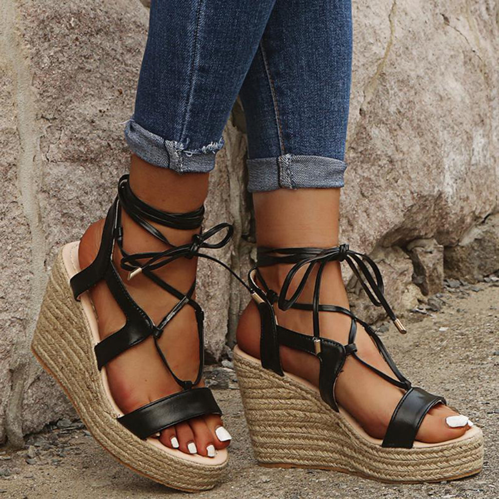 Large Sizes Women Solid Color Lace Up Wedges Sandals