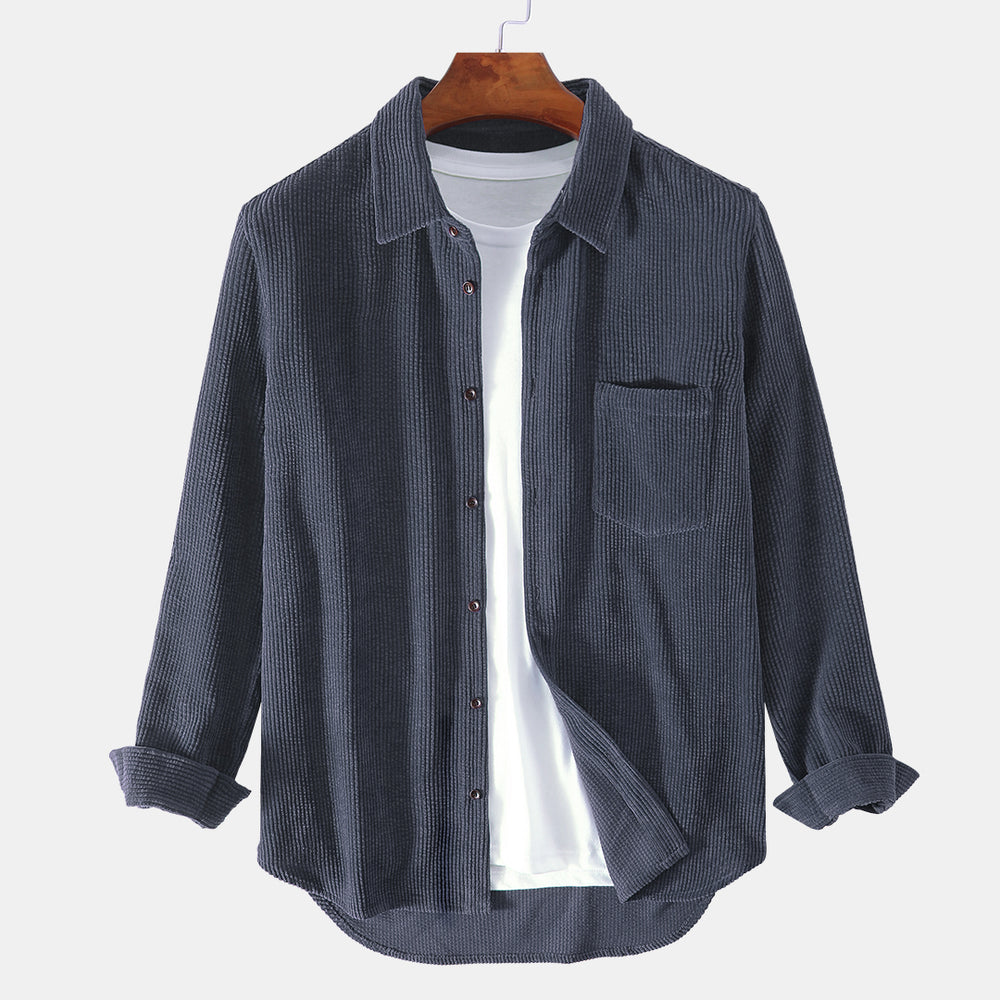 Mens Brief Style Corduroy Solid Color Casual Long Sleeve Shirts