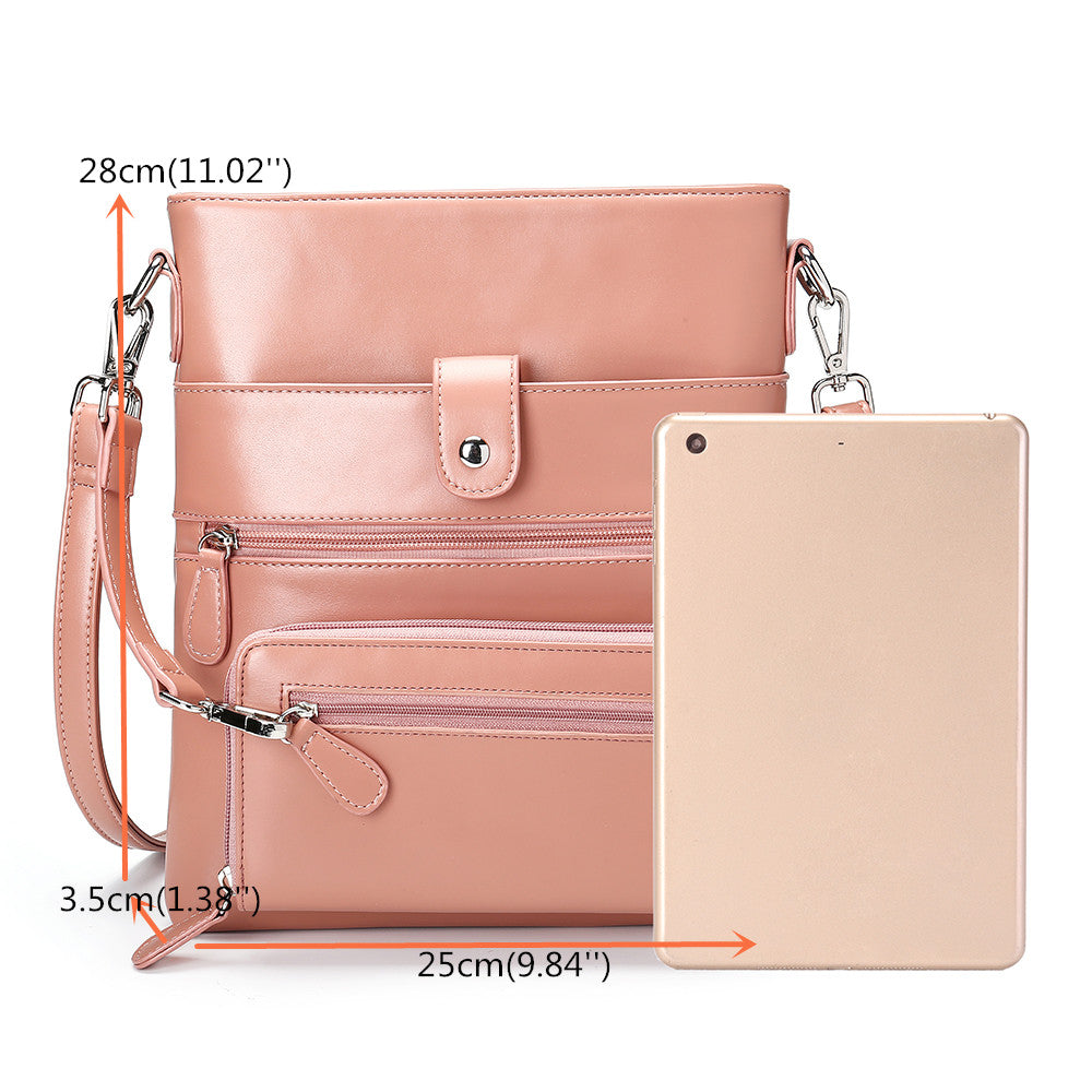 Women Anti-theft Solid 2 Picese Multifunction Crossbody Bag
