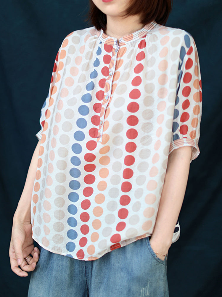 Polka Dot Print Half Sleeve Casual T-Shirt For Women