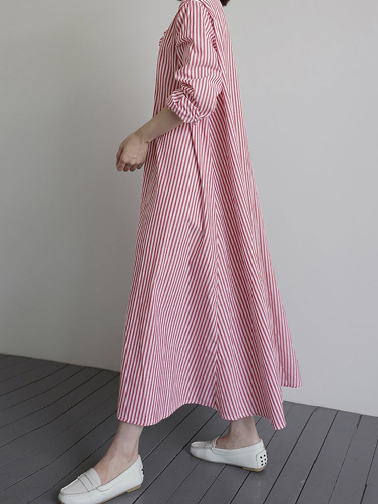 Casual Striped Print Long Sleeve Loose Long Dress
