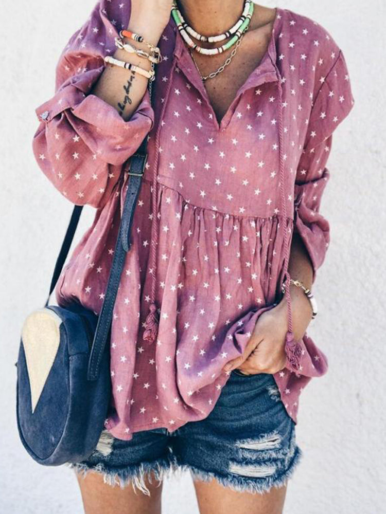 Long Sleeve Stars Print Bandage V-neck Blouse For Women