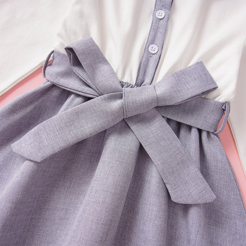 Girl's Long Sleeves Bowknot Patchwork Casual Dress For 1-7Y