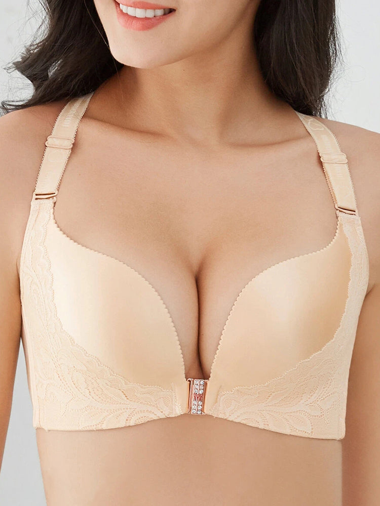 Wireless Front Closure Lace Patchwork Seamless Beauty Back Bra Grey