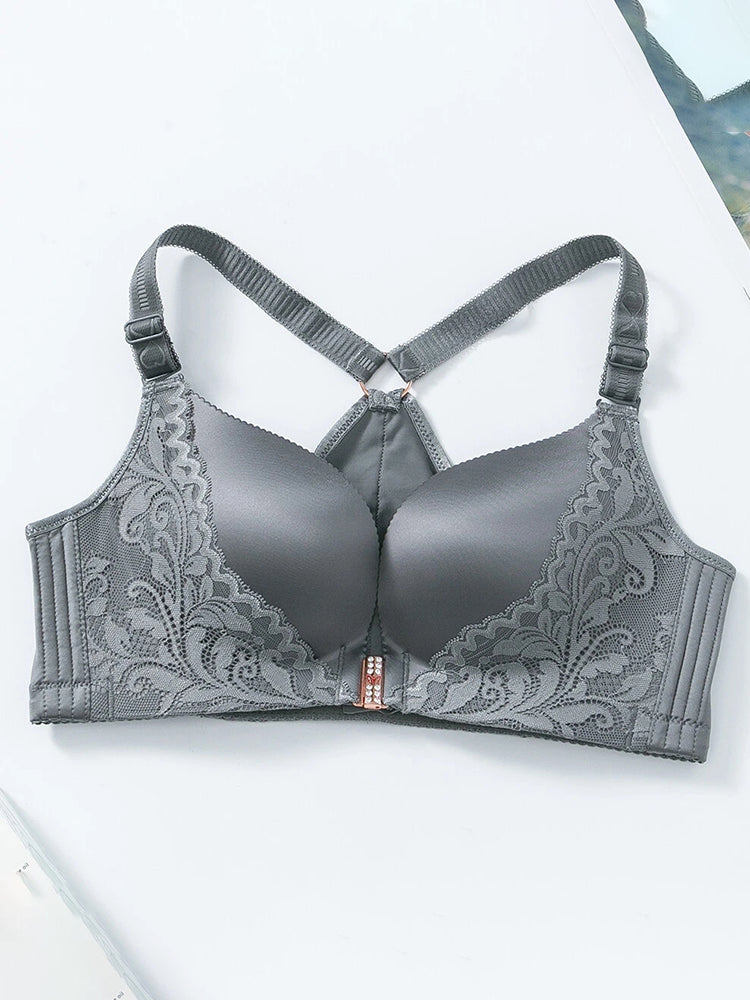 Wireless Front Closure Lace Patchwork Seamless Beauty Back Bra Green