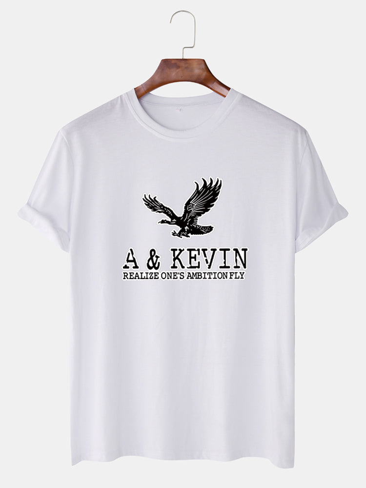 Mens Eagle Graphic Print Loose Breathable T-shirt