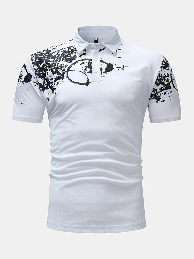 Mens Splash Ink Printed Casual Short Sleeve Golf Shirt