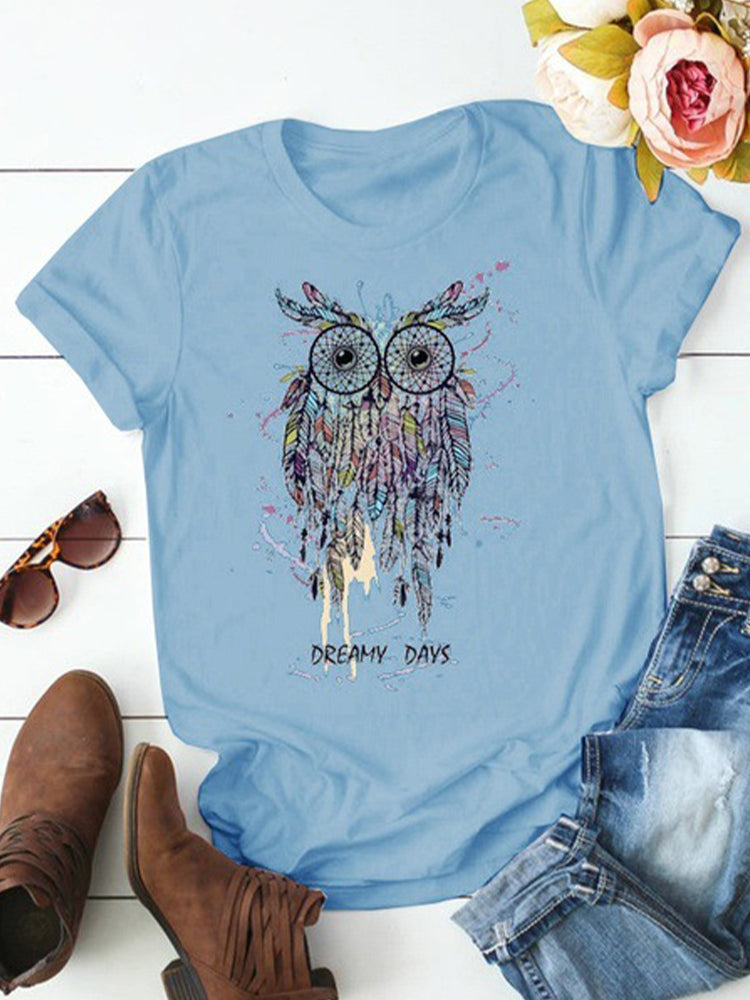 Owl Letter Print O-neck Short Sleeve Casual T-shirt For Women
