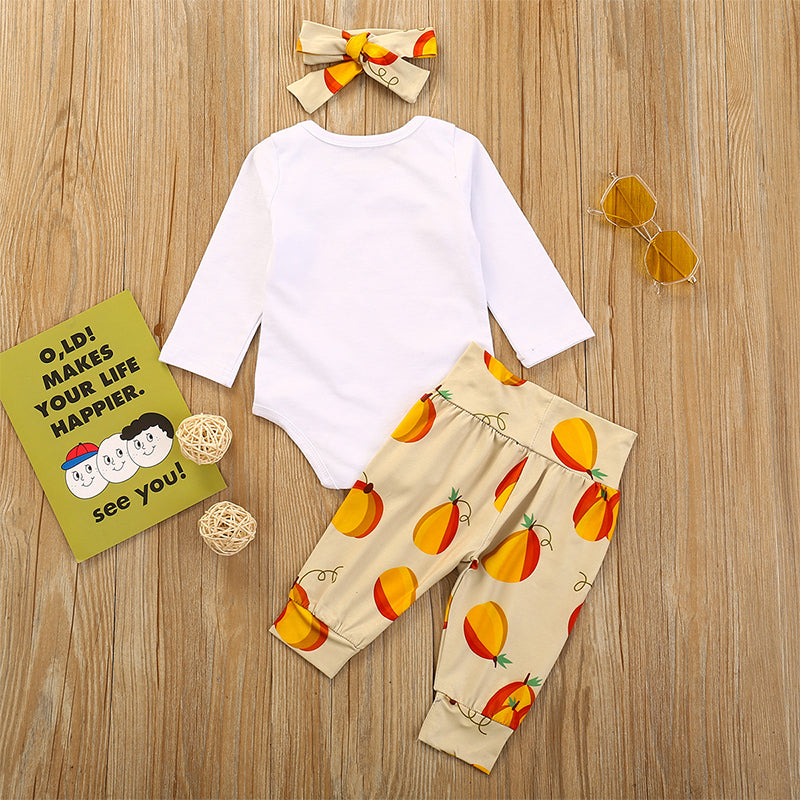 3PCs Baby Pumpkin Print Long Sleeves Casual Clothing Set For 6-24M