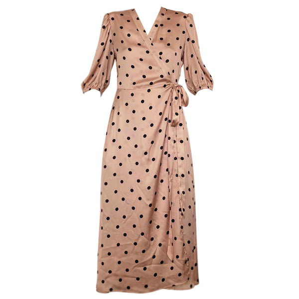 Audrey Dress in Polka dots beige print