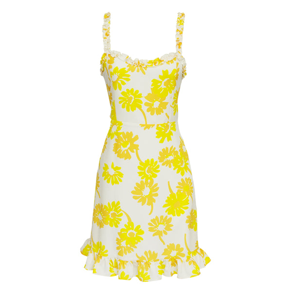 Hailey Short Dress in Margaritas yellow print