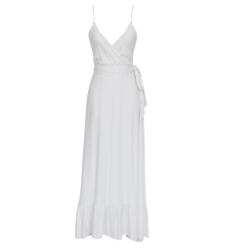 Carrie Sea Maxi Dress in Solid white