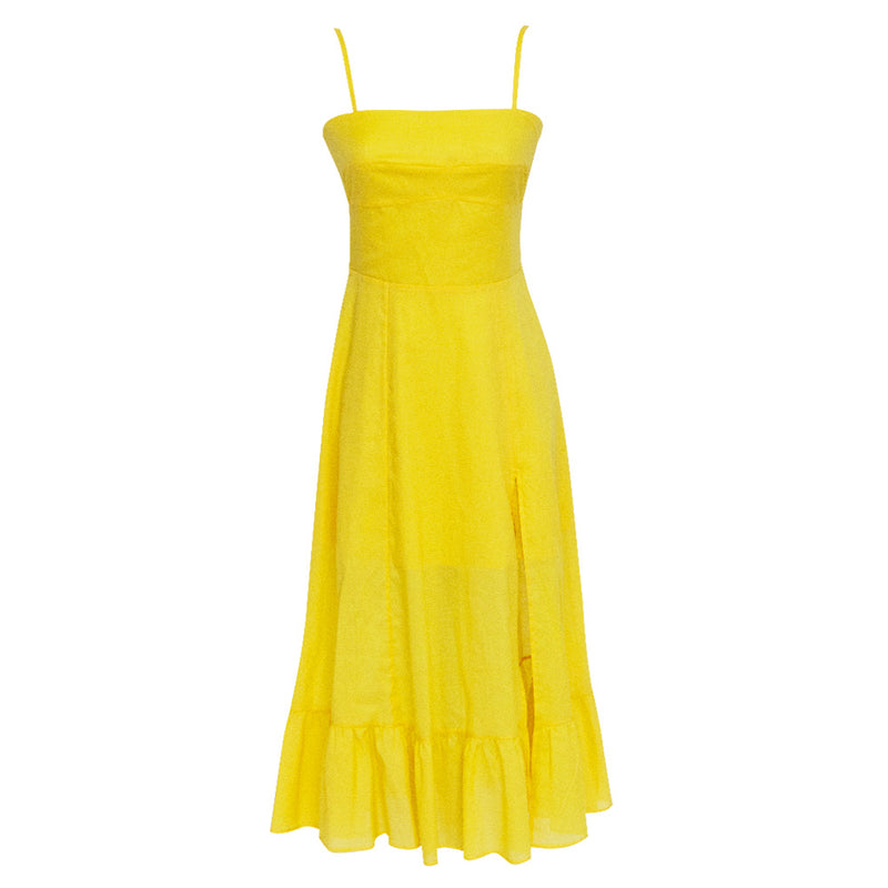 Lore Tira Dress in Solid yellow