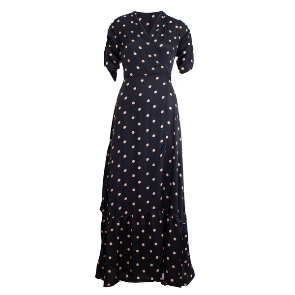 Carrie Dress in Polka dots black print