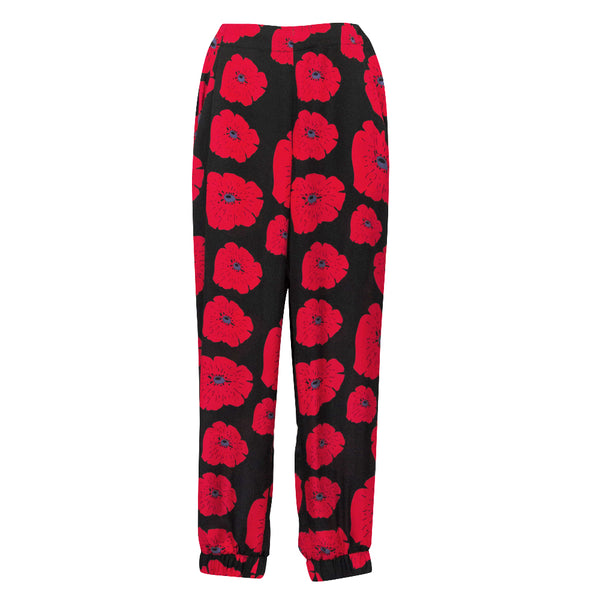 Allegra Pants in Poppy red print
