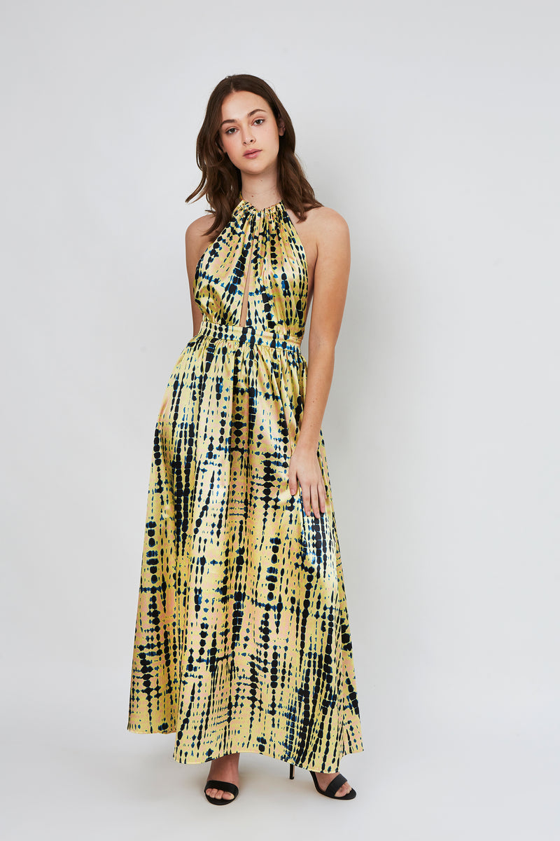 Zoe Dress in Shibori yellow print