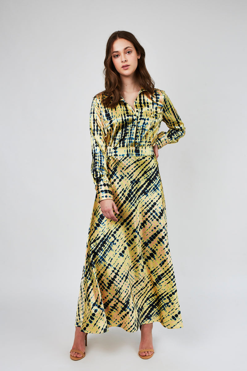 Camilla Blouse in Shibori yellow print
