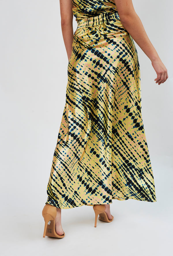 Bridget Maxi Skirt in Shibori yellow print