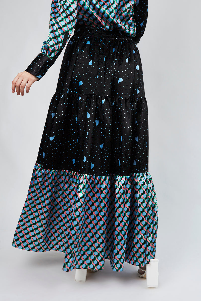 Coralina Skirt in Multi blue print