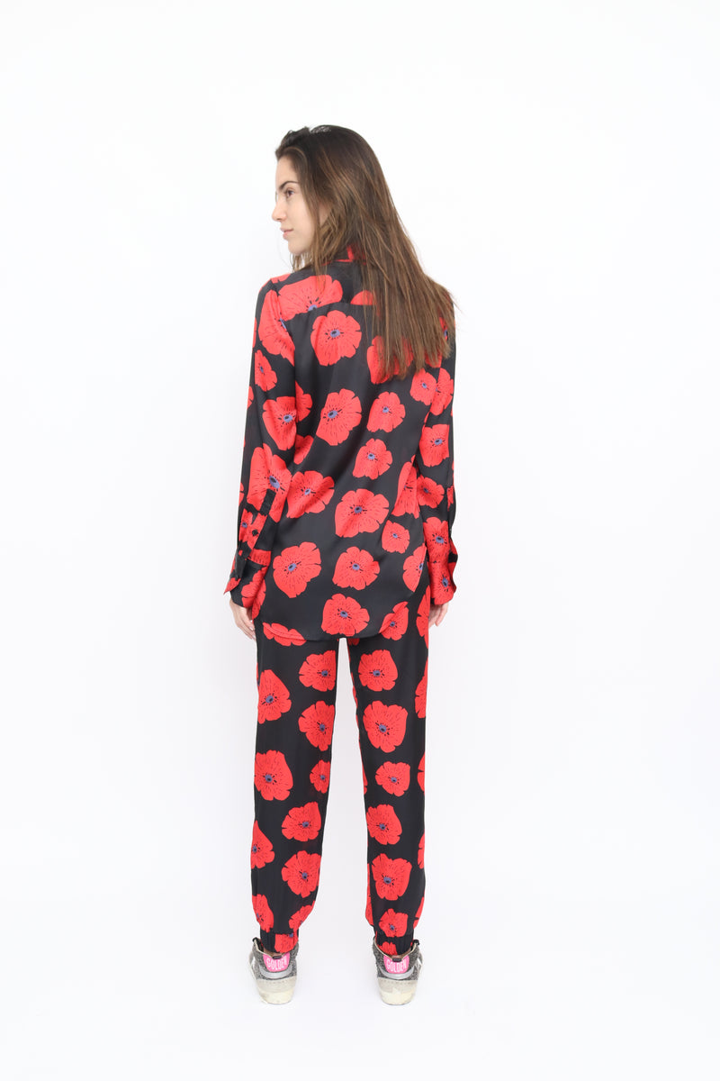 Camilla Blouse in Poppy red print