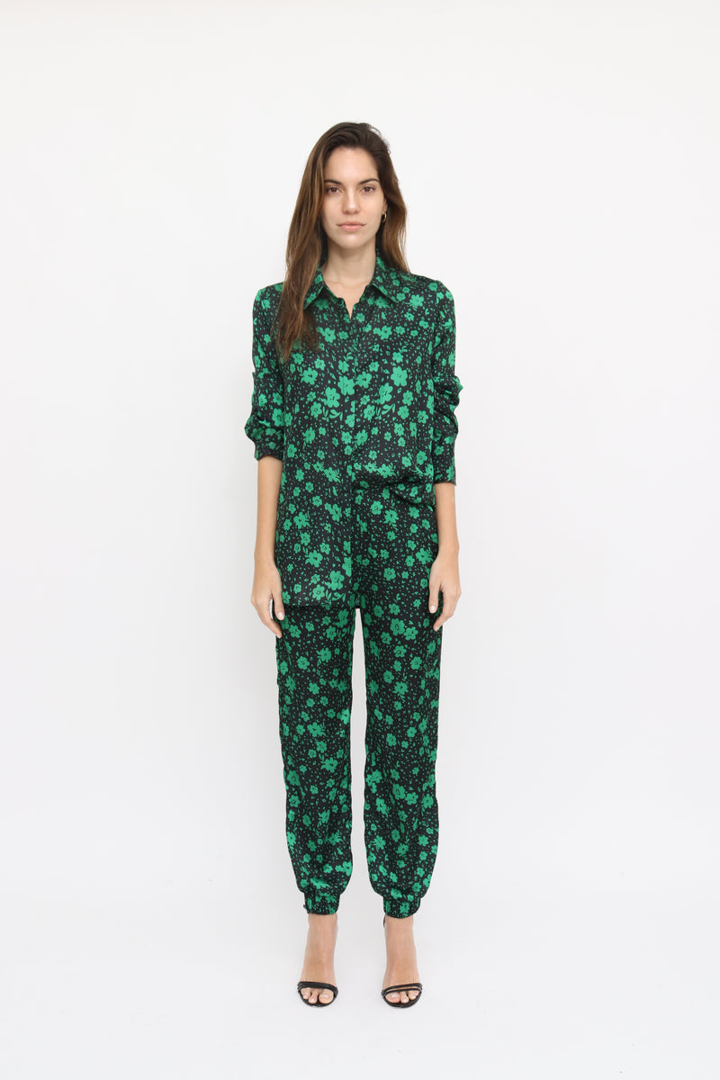Camilla Blouse in Daisy green print