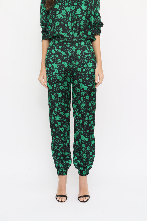 Allegra Pants in Daisy green print
