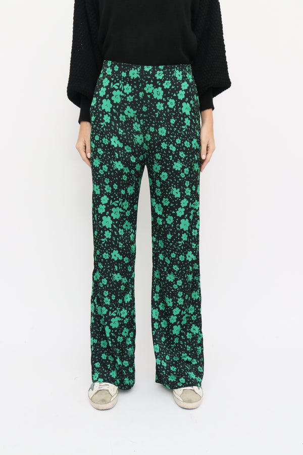 Cloe Pants in Daisy green print