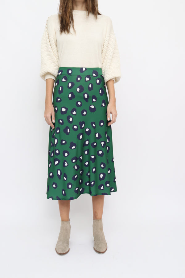 Bridget Short Skirt in Celulas green print