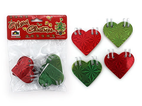 Christmas Heart Note Books (4 pk)