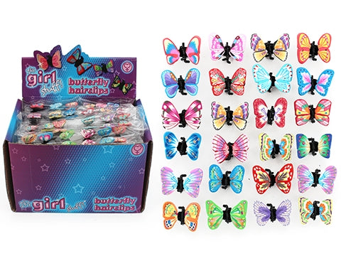 Molded Clay Butterfly Hairclips (6 pk)