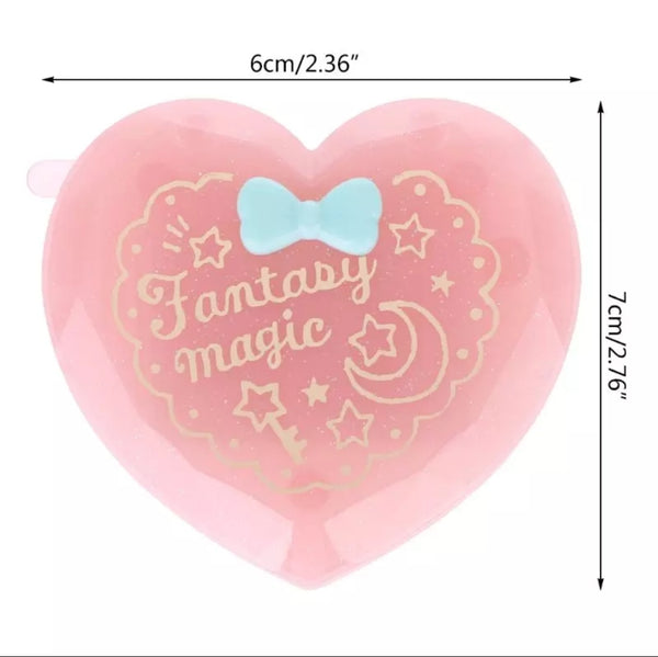 Kawaii Heart Gem Comb and Mirror Compact
