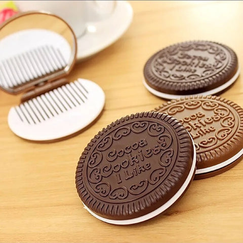 Kawaii Cookie Comb and Mirror Compact