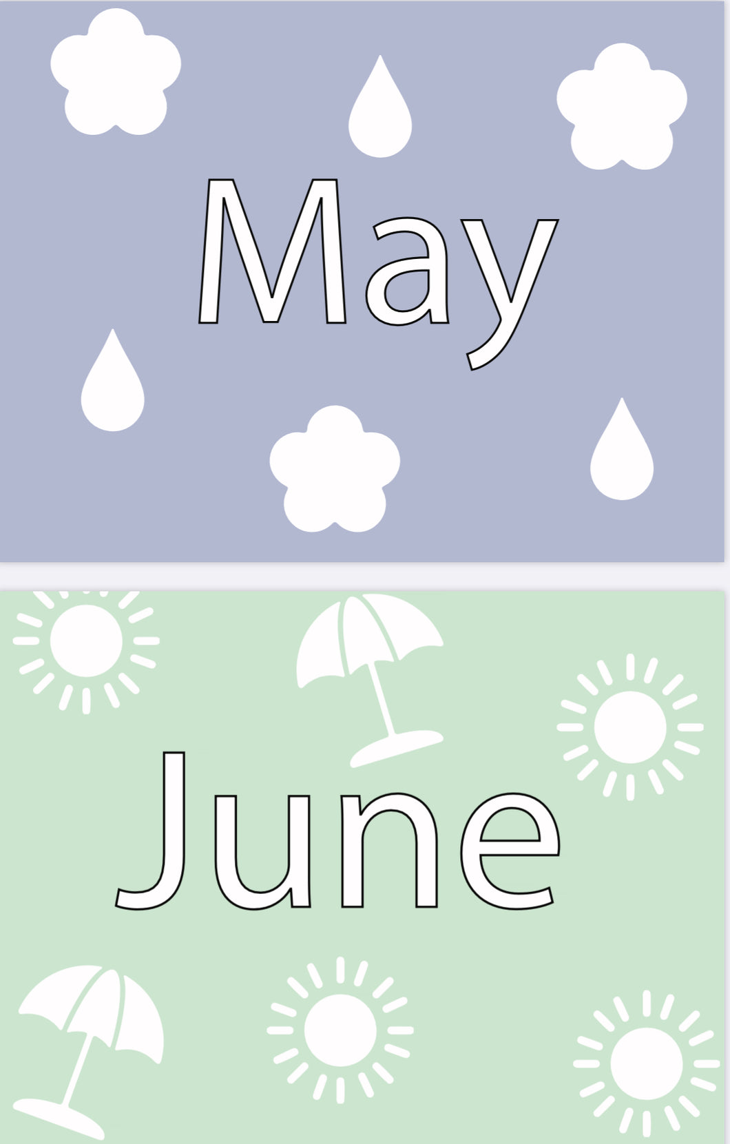 Days of the Week, Months of the Year & Seasons Flash Cards