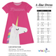 Hot pink and aqua big unicorn girls a line dress with name - Wimziy&Co.