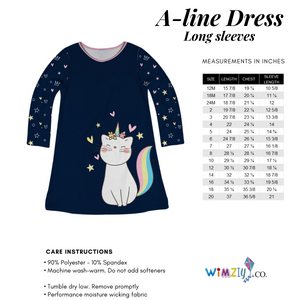 Navy and white cat unicorn girls a line dress with monogram - Wimziy&Co.