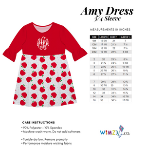Stars Monogram Red Amy Dress Three Quarter Sleeve - Wimziy&Co.