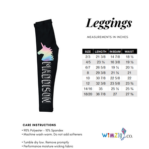 Watercolor hot pink and turquoise gymnastics girls leggings - Wimziy&Co.