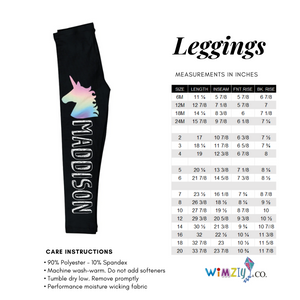 Black and multicolor unicorn girls leggings with name - Wimziy&Co.