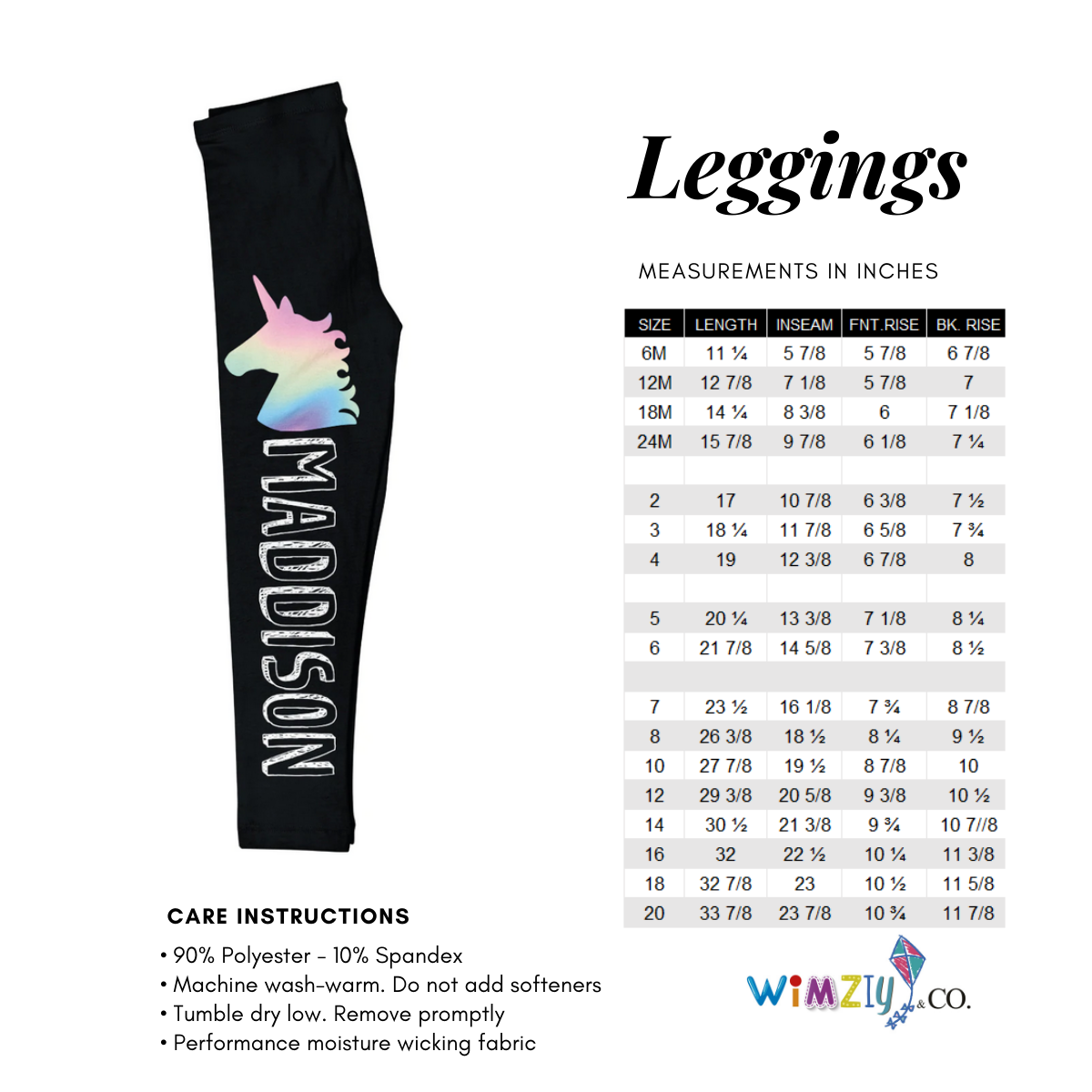 Black and multicolor girls leggings with name - Wimziy&Co.