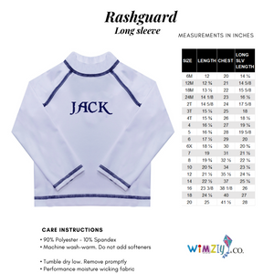 Initial and Name Navy Long Sleeve Rash Guard - Wimziy&Co.