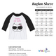 Crazy Cat Lady White and Black Raglan Tee Three quarter Sleeve