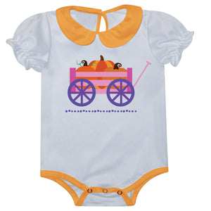 Cart With Pumpkin and Name White Puff Sleeve Girl Onesie - Wimziy&Co.
