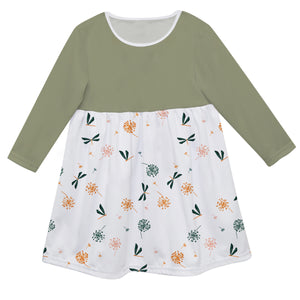 Girls white and green flowers dress with monogram - Wimziy&Co.