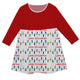 Girls red and multicolor lights dress with name