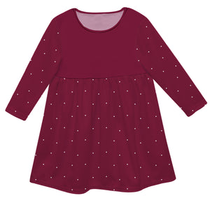 Girls maroon and white dress with monogram