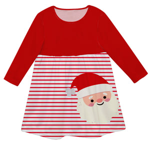 Girls red and white santa dress with name