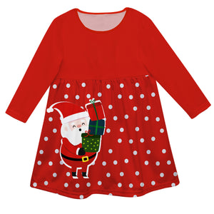 Girls red and white santa dress with monogram